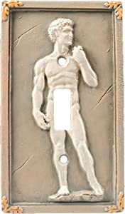 Bella Haus Design Michelangelo's David 3D Sculpted Light Switch Cover - Polyresin Single Toggle Wall Switch Plate Cover- Statue Of David Michelangelo Wall Home Art Decor
