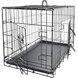 "OxGord 36"" Dog Crate with Divider, Double-Doors Folding Pet Cage with Heavy Duty Metal Wires, Removable ABS Plastic Floor Tray Carry Case with Handle XL Extra Large"