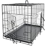 OxGord 24-Inch Folding Metal Pet Crate with Double-Door and Divider
