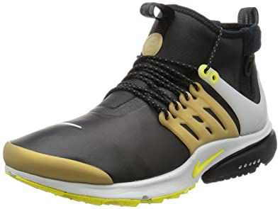 9423851337798 Nike Men Air Presto Utility Mid-Top (Black/Yellow Streak-Metallic Gold)