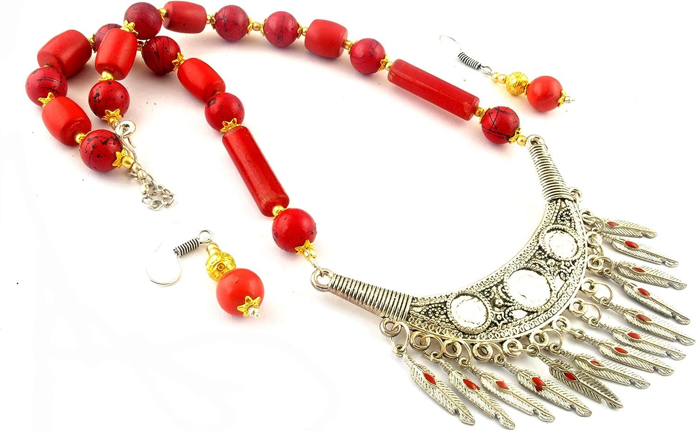 Indie Artisans - Juego de Collar y Pendientes de Coral, Estilo Europeo