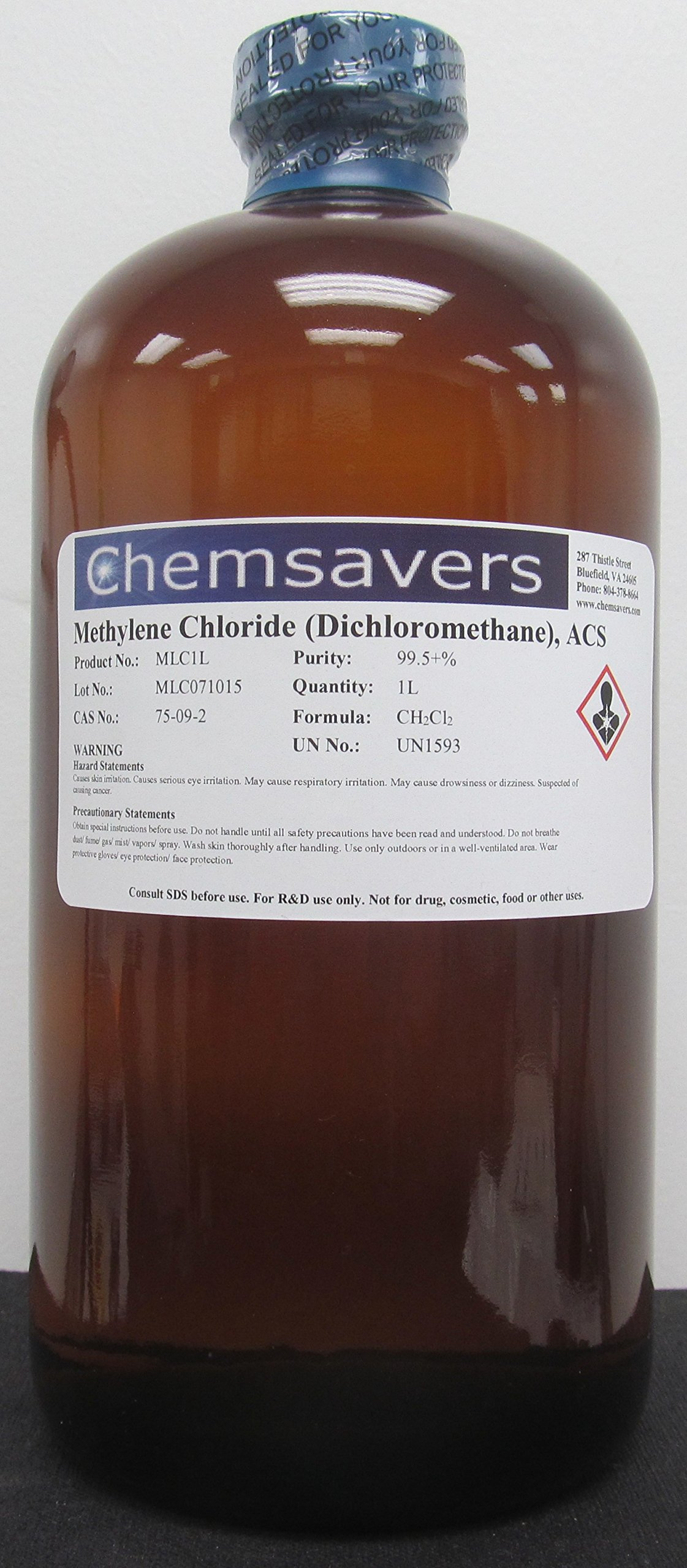 Methylene Chloride (Dichloromethane), ACS, 99.5+%, 1L (32oz)