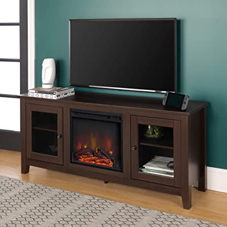 Amazon Com Walker Edison Az58fp4dwes Traditional Wood Fireplace Stand For Tv S Up To 64 Living Room Storage 24 Inches Tall Espresso Furniture Decor