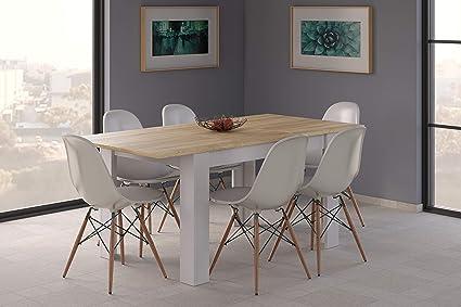 Tavolo Bianco In Legno.Esidra Tavolo Pranzo Allungabile Legno Bianco E Rovere 140