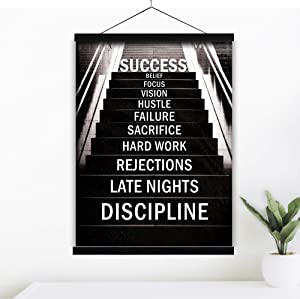 Motivational Wall Art Poster 12x16 w/Hanger - Inspirational Growth Mindset Office Decor Positive Quotes Artwork, Inspiring Success Affirmations, Money Hustle Pictures (Success Stairs)