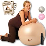 Natural Birth & Fitness Birthing Ball & Pump - NBF Anti-Burst Birth Ball with Instruction Guide for Pregnancy & Labour. 75cm Pale Gold