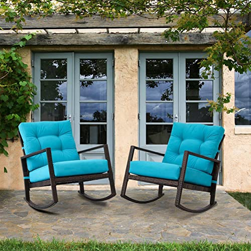 Crownland 2-Pack Outdoor Patio Rocking Chair Wicker Chair