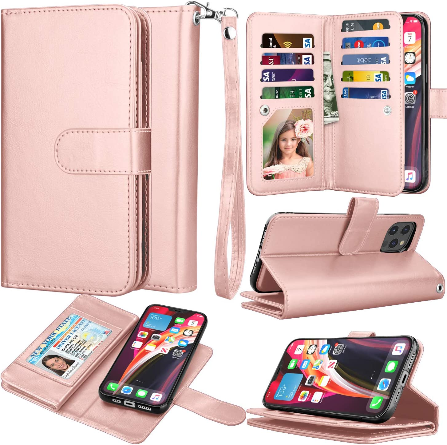 Takfox Wallet Phone Case Compatible with iPhone 12 / iPhone 12 Pro 6.1 Wallet PU Leather Mutiple ID Credit Card Slots Holder Folio Flip Kickstand Detachable Magnetic Phone Case & Wrist Strap-Rose Gold
