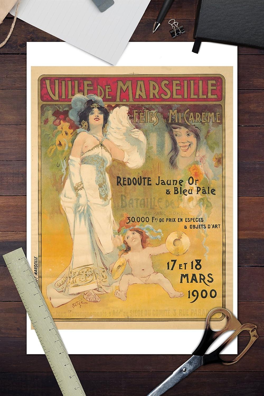 Amazon.com: Ville de Marseille - Fetes de la Mi-Careme Vintage Poster (artist: Satge) France c. 1900 (Cotton/Polyester Chefs Apron): Kitchen & Dining
