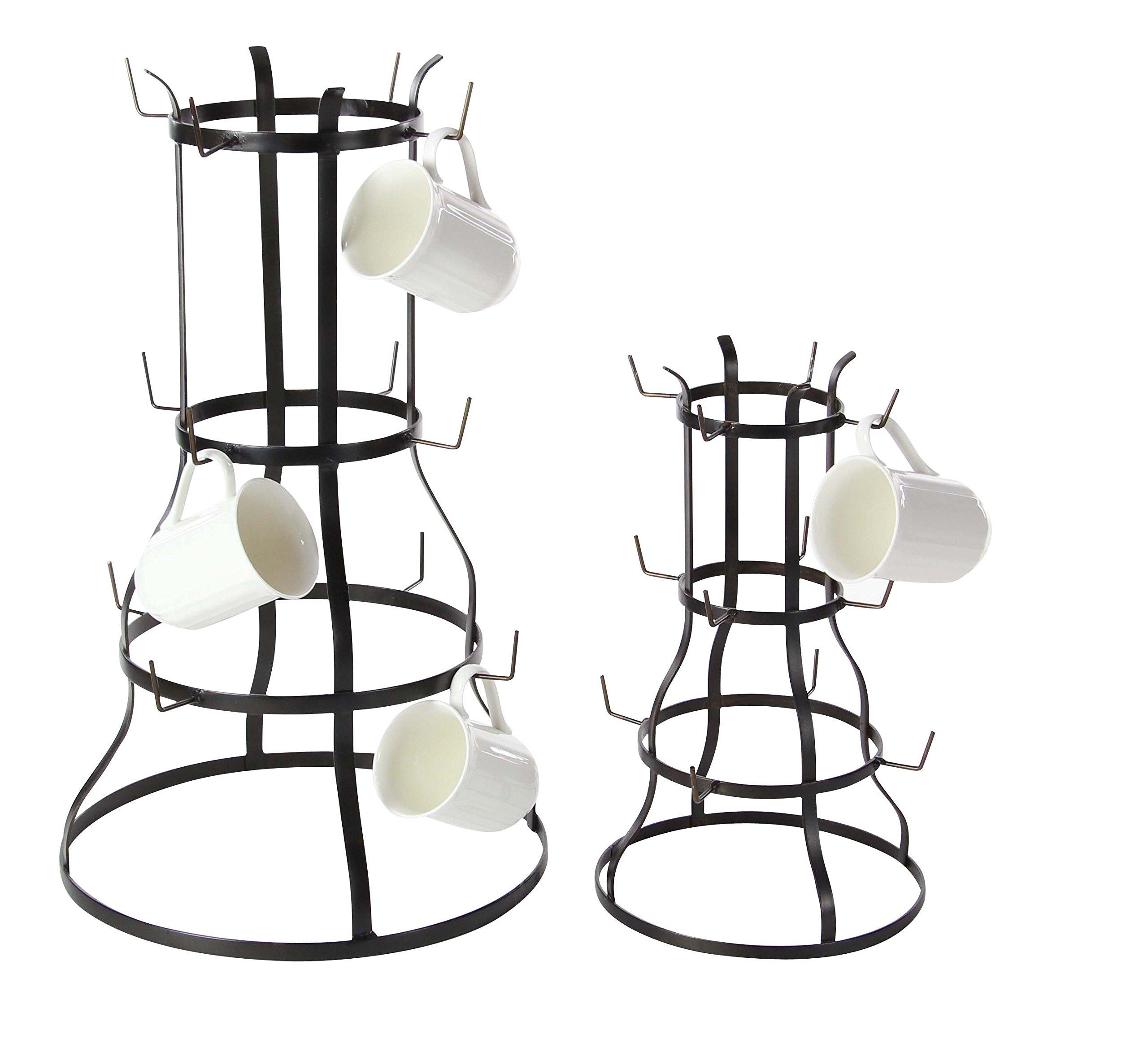 Deco 79 70555 Iron Bell-Shaped Mug Racks (Set of 2), Black
