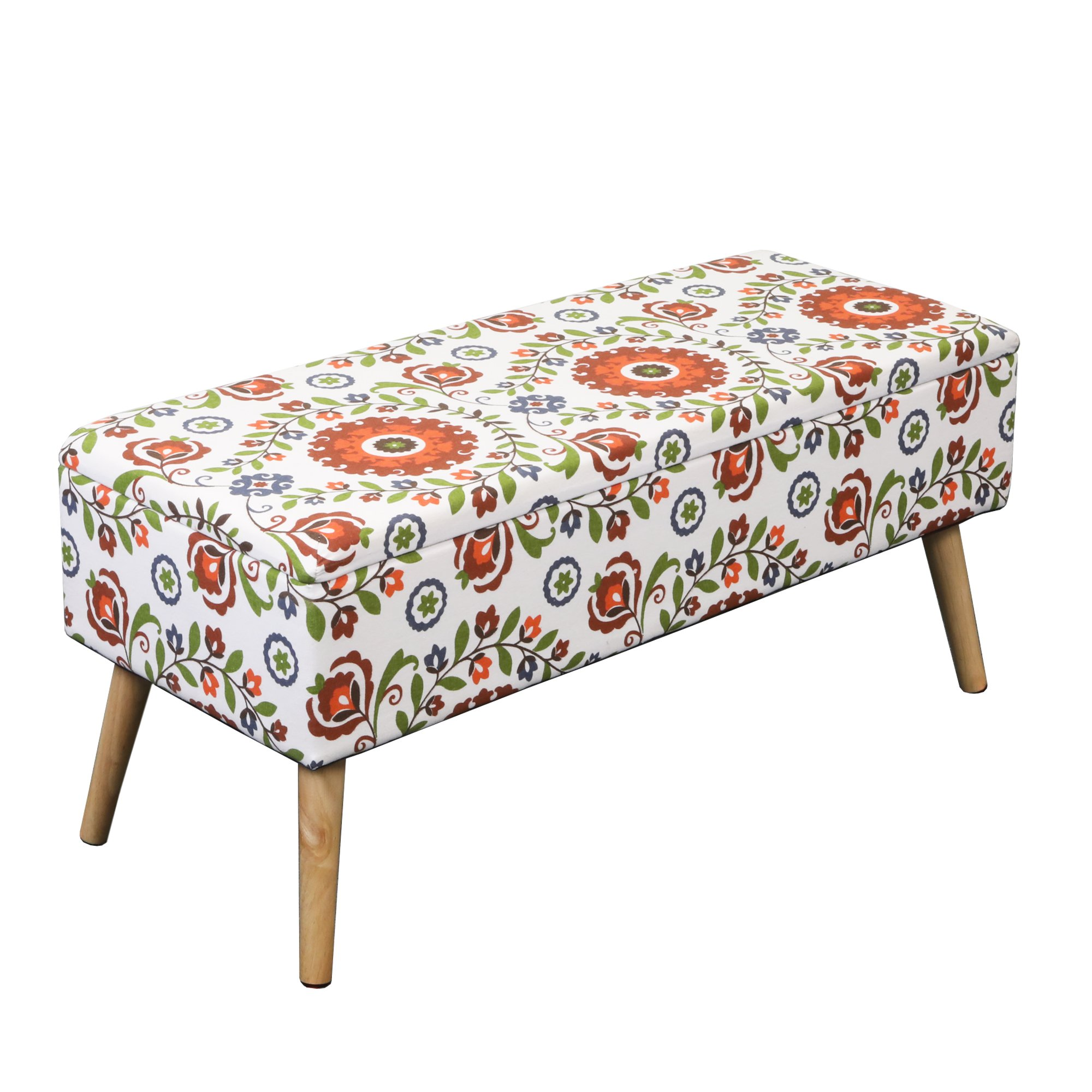 Otto & Ben 37'' Storage Bench - Mid Century Ottoman with EASY LIFT Top, Upholstered Shoe Ottomans Seats for Entryway and Bedroom, Retro Floral