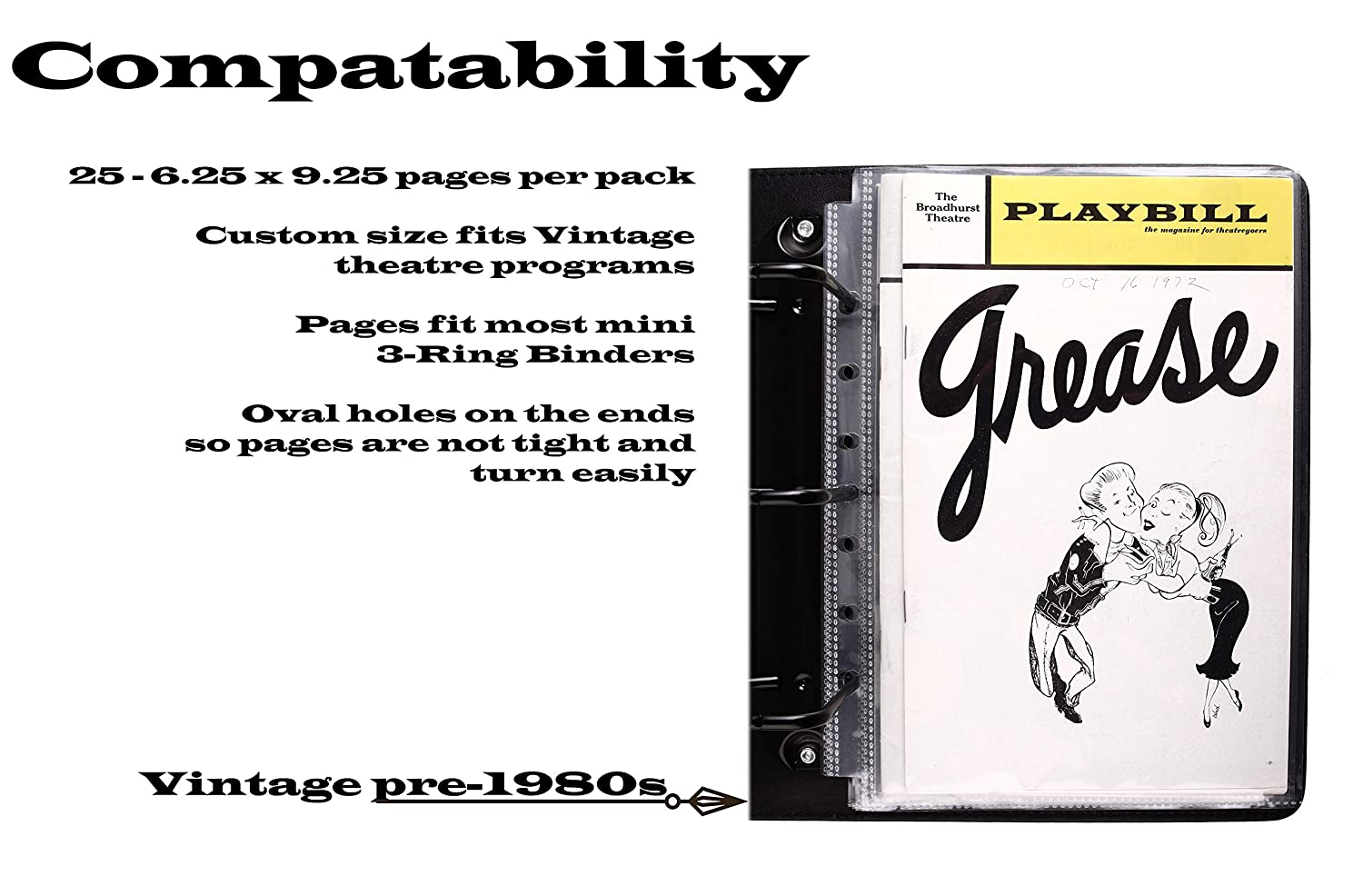 Broadway Play Program and Theater Playbill 25 Custom Sheet Protectors Fits Playbills Fits The Older 9 x 6 Playbills 25 Pack 6.25 x 9.25 Program Protectors