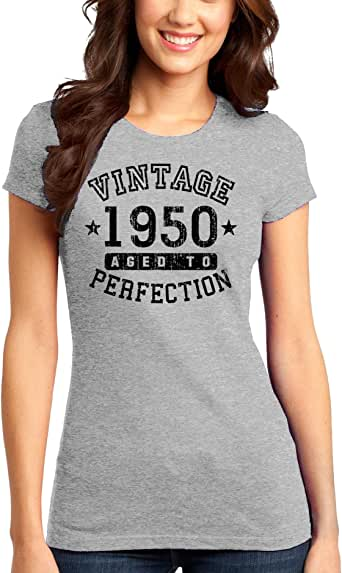TooLoud 1950 - Vintage Birth Year Juniors T-Shirt Brand at