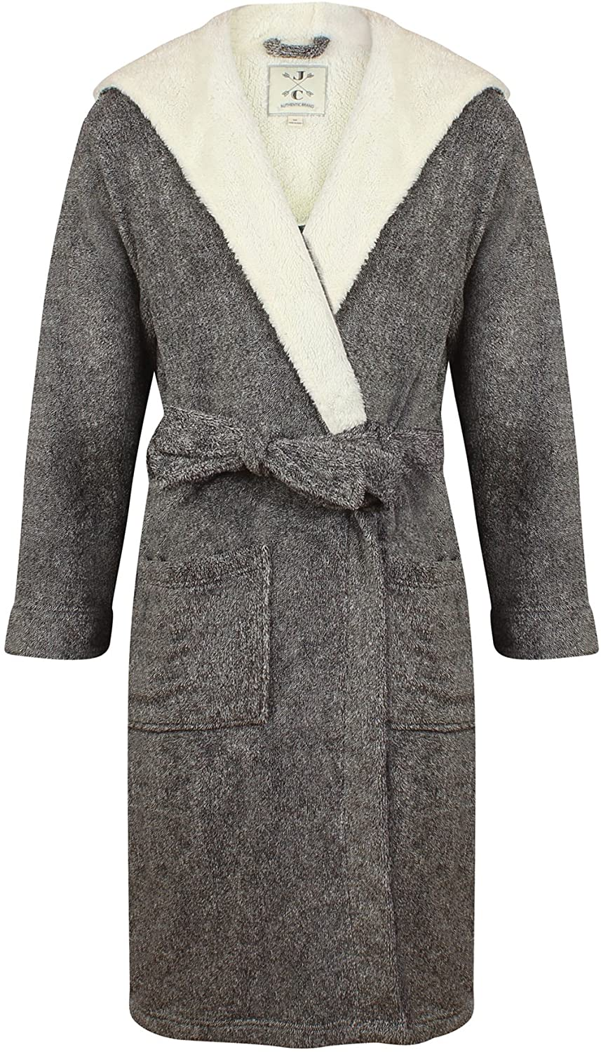John Christian Men's Hooded Fleece Robe, Dark Gray Marl