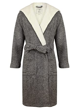 324104e7e4 John Christian Men s Hooded Fleece Robe Dark Gray Marl ...