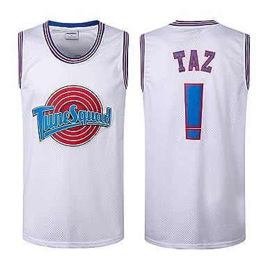 8b3a80bc07b Domminkez Taz !# Bunny Space Movie Jersey Mens Squad Basketball Jersey  White S-XXL