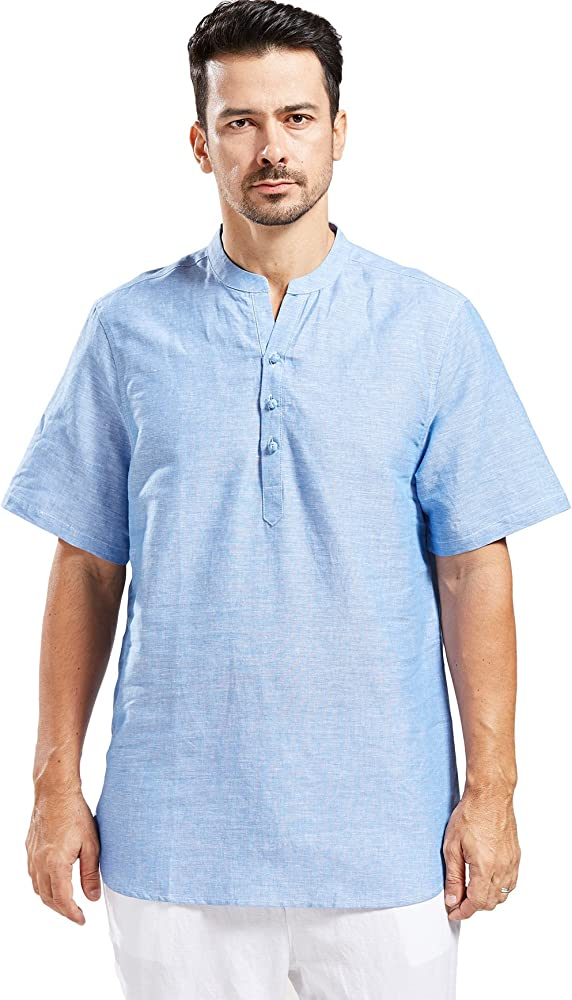 Vintage Mens Henley Tee Shirts Round Collar Long Sleeve Casual T-Shirts Top Sz D