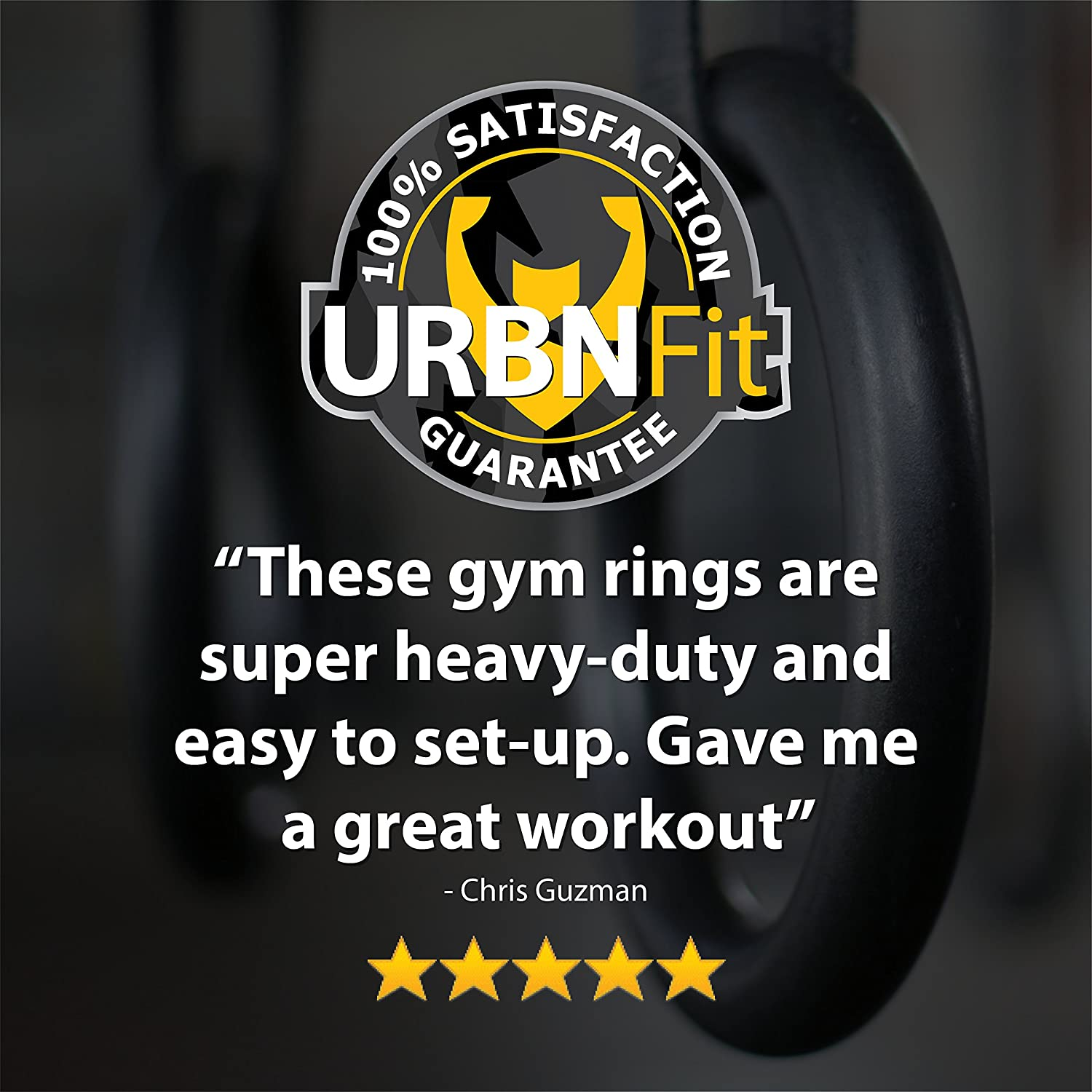 Bodyweight Workout and Strength Training Olympic Non-Slip Rings with Adjustable Straps for Crossfit and at Home Gym Workouts URBNFit Gymnastic Rings