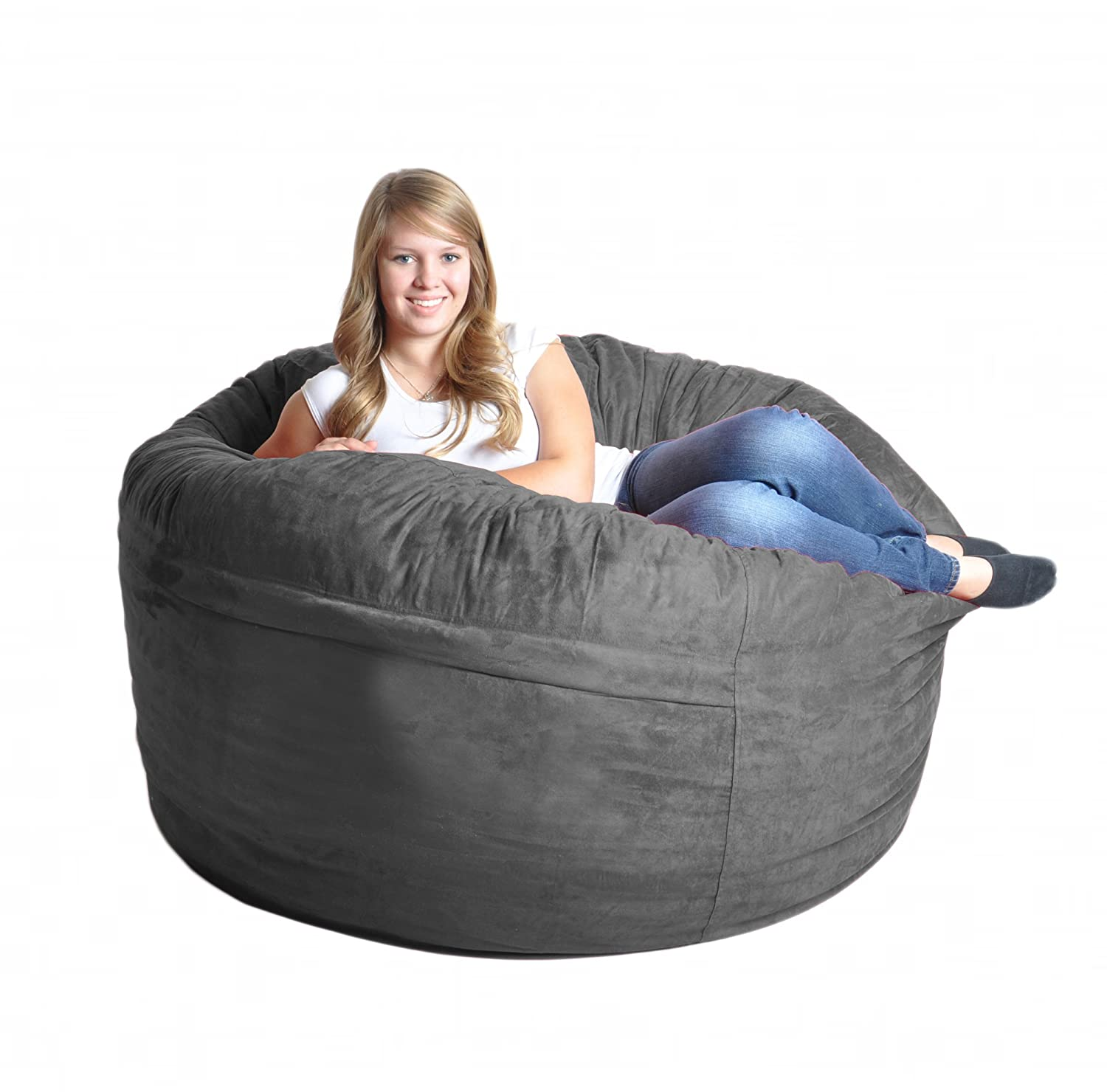 Amazon SLACKER Sack 5 Feet Foam Microsuede Beanbag Chair Large Black Kitchen Dining