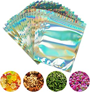 PackItBest 100 Pieces Smell Proof Bags - 6x8 Inches Resealable Mylar Bags Clear Zip Lock Food Candy Storage Bags Holographic Rainbow Color
