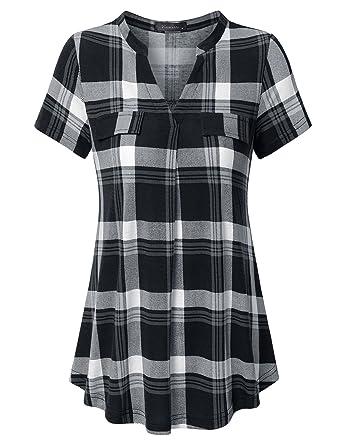 5443593aa8b Vinmatto Women's Henley V Neck Short Sleeve Casual Plaid Tunic Shirt(M,Plaid  Black