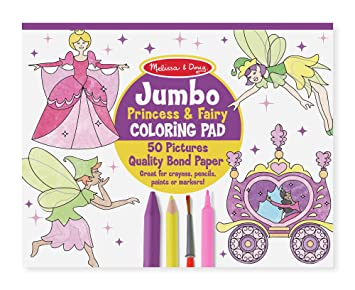 Amazon Com Melissa Doug Princess Fairy Jumbo Coloring Pad