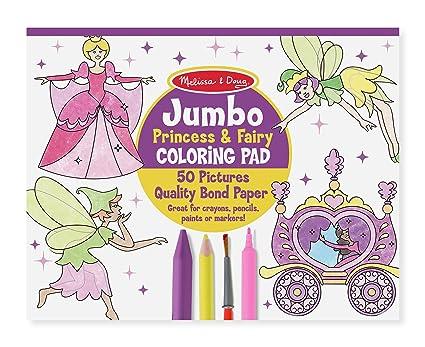 Amazon.com: Melissa & Doug Princess & Fairy Jumbo Coloring Pad ...