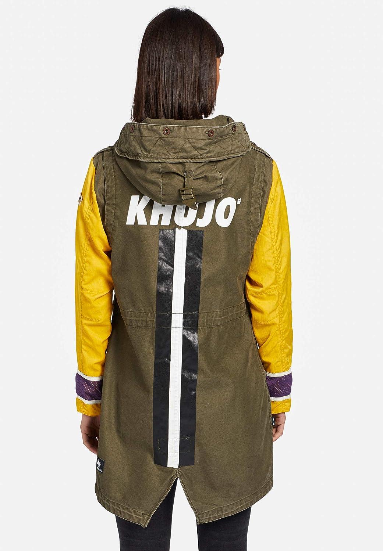 khujo KOMIYA Contrast Parka da donna in mix di materiali, giacca estiva con maniche a contrasto Verde