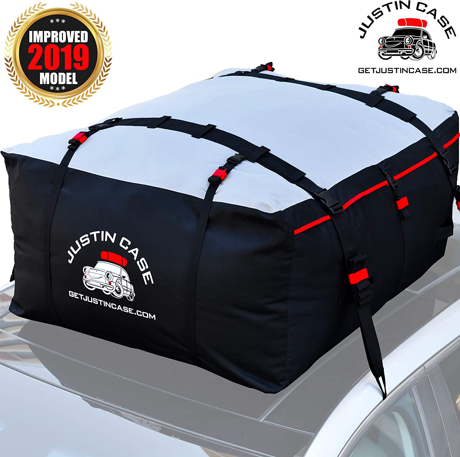 15 CFT expands to 19 CFT JUSTINCASE Rooftop Cargo Carrier Bag Straps /& Hooks Included Works Without Luggage Rack or Side Rails Roof Bag Waterproof Car Top Carrier for Extra Car Roof Storage