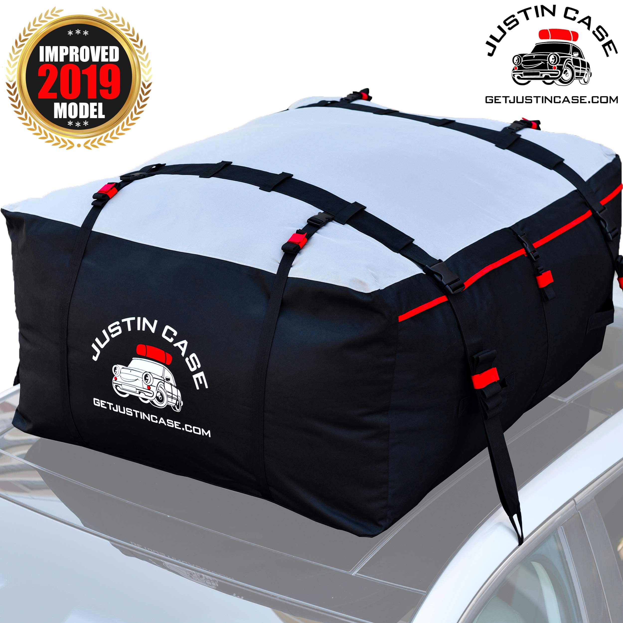 Justin Case Rooftop Cargo Carrier - Car Top Carrier – Roof Bag -19 Cubic Feet – Heavy Duty, Waterproof Bag for Extra Car Roof Storage – Straps & Hooks Included, Works Without Roof Rack or Side Rails