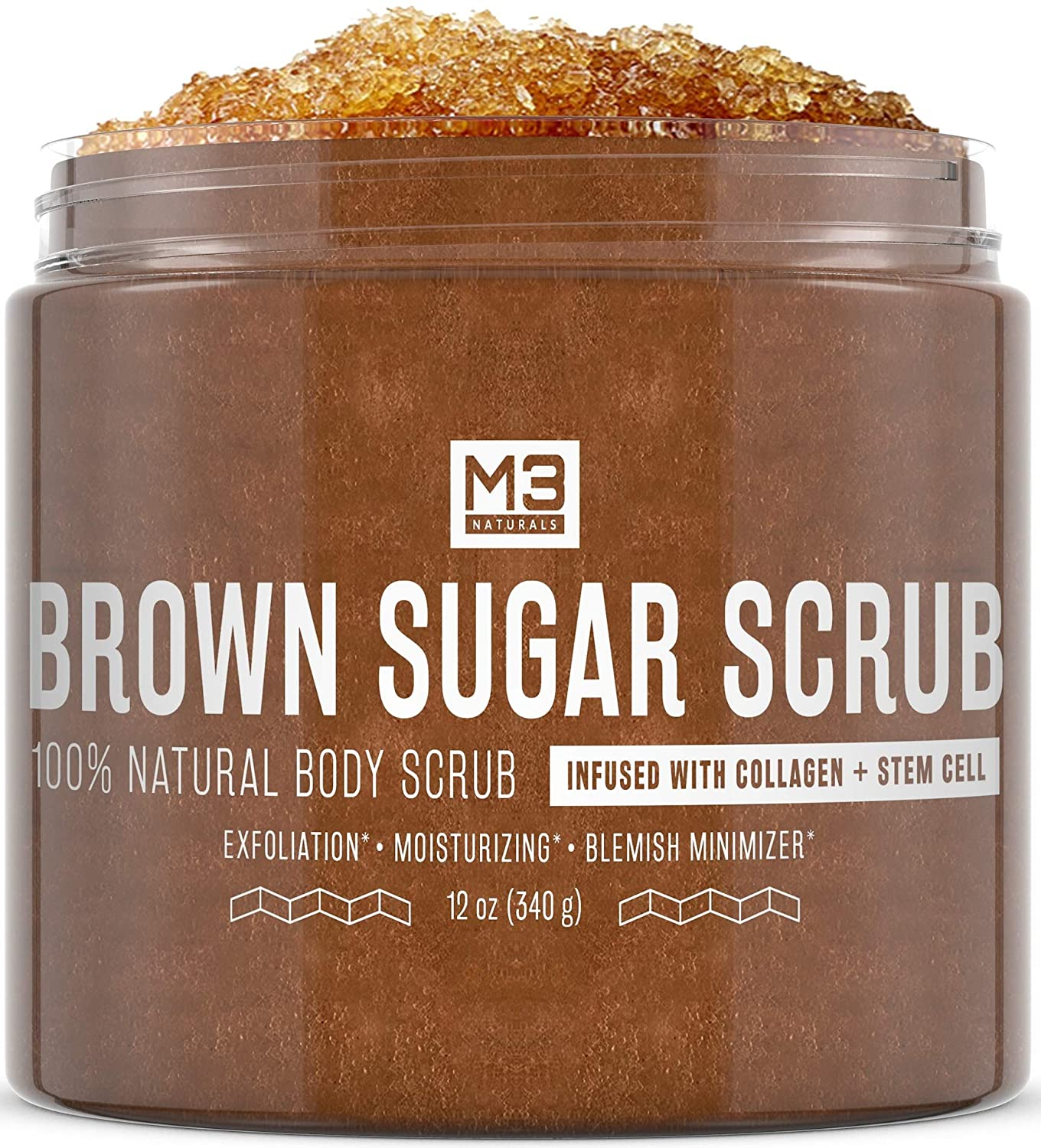 M3 Naturals Brown Sugar Scrub infused with Collagen and Stem Cell All Natural Body and Face Exfoliating Stretch Marks Spider Veins Acne Scars Anti Cellulite Exfoliator Wrinkles Skin Care