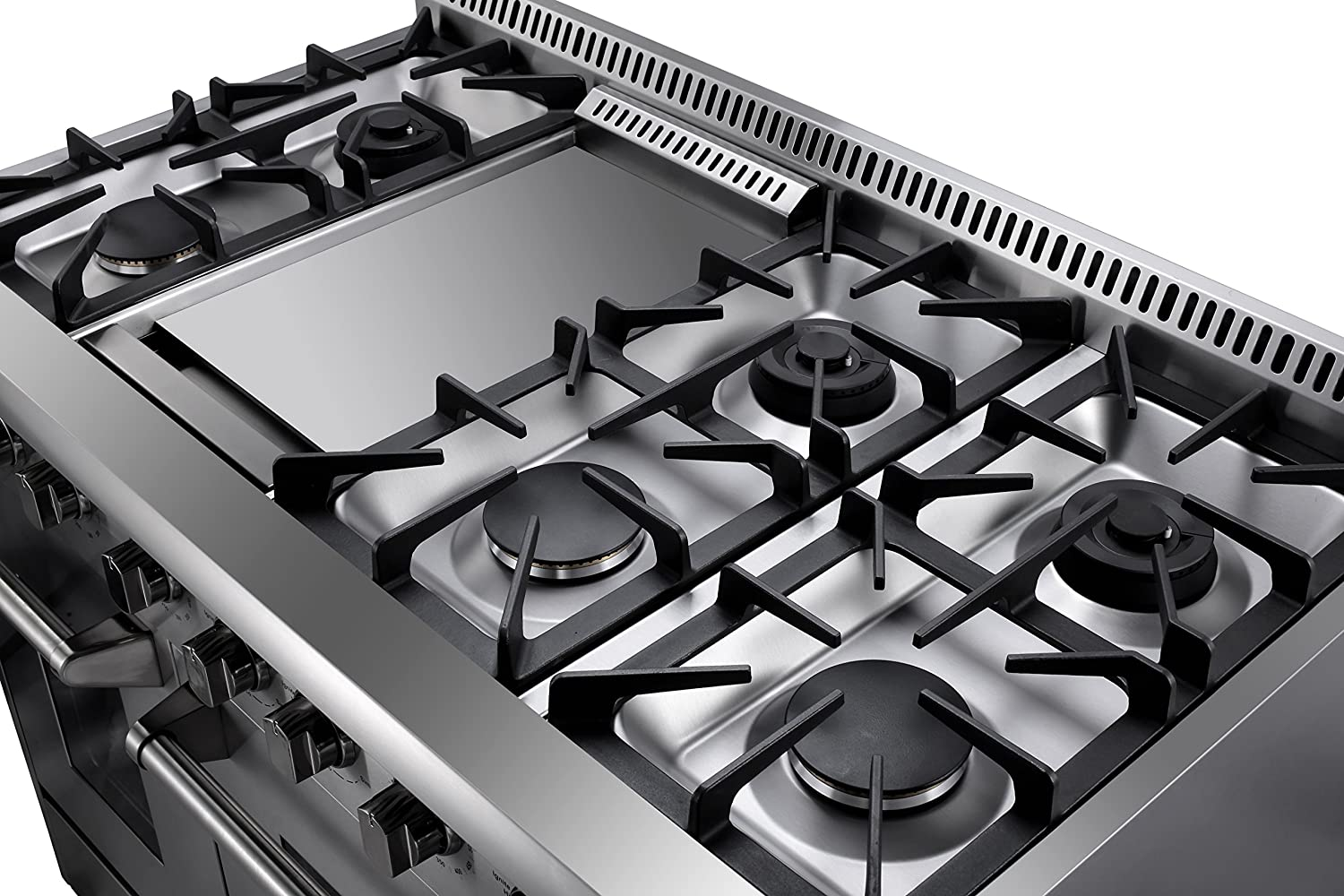 Kitchen gas stove top view - Amazon Com Thorkitchen Hrd4803u 48 Freestanding Professional Style Dual Fuel Range With 4 2 And 2 5 Cu Ft Double Oven 6 Burners Griddle