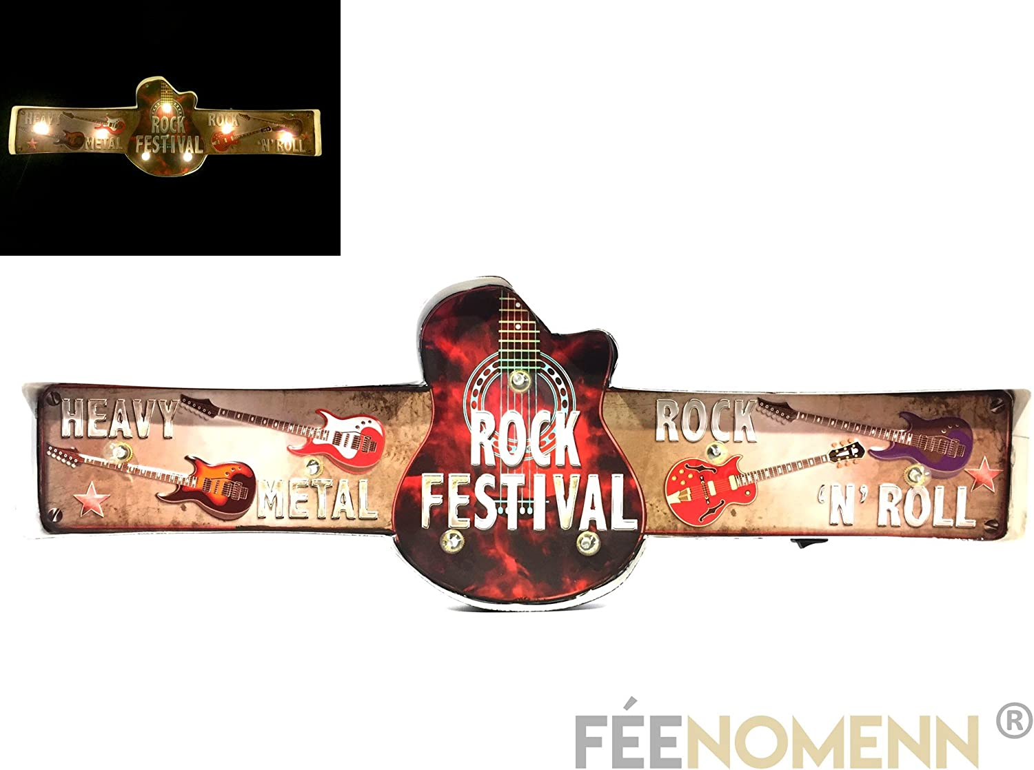 FEENOMENN Placa Metal Luminosa LED – Déco Pared Vintage – Guitarra ...