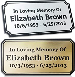 Elegant Engraved Plate Personalized Memorial Plate Grave Plaque, 2