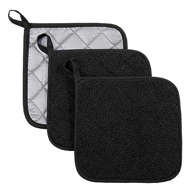 VEEYOO 100% Cotton Pot Holders Hot Pads Quilted Trivet Mats Spoon Rest Heat Resistant 7x7, Black