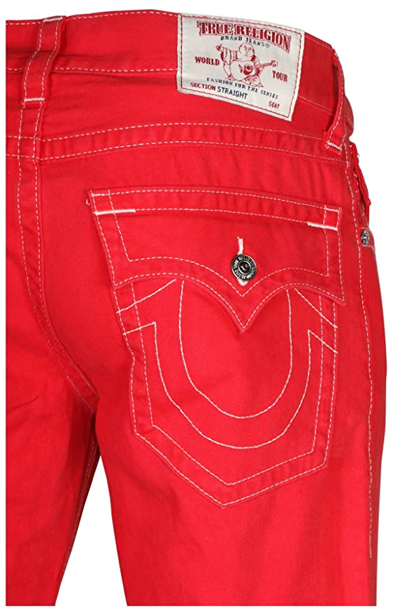 a1b41d63b Amazon.com  True Religion Men s Straight With Flap Natural SN Jeans-Chili  Red  Clothing