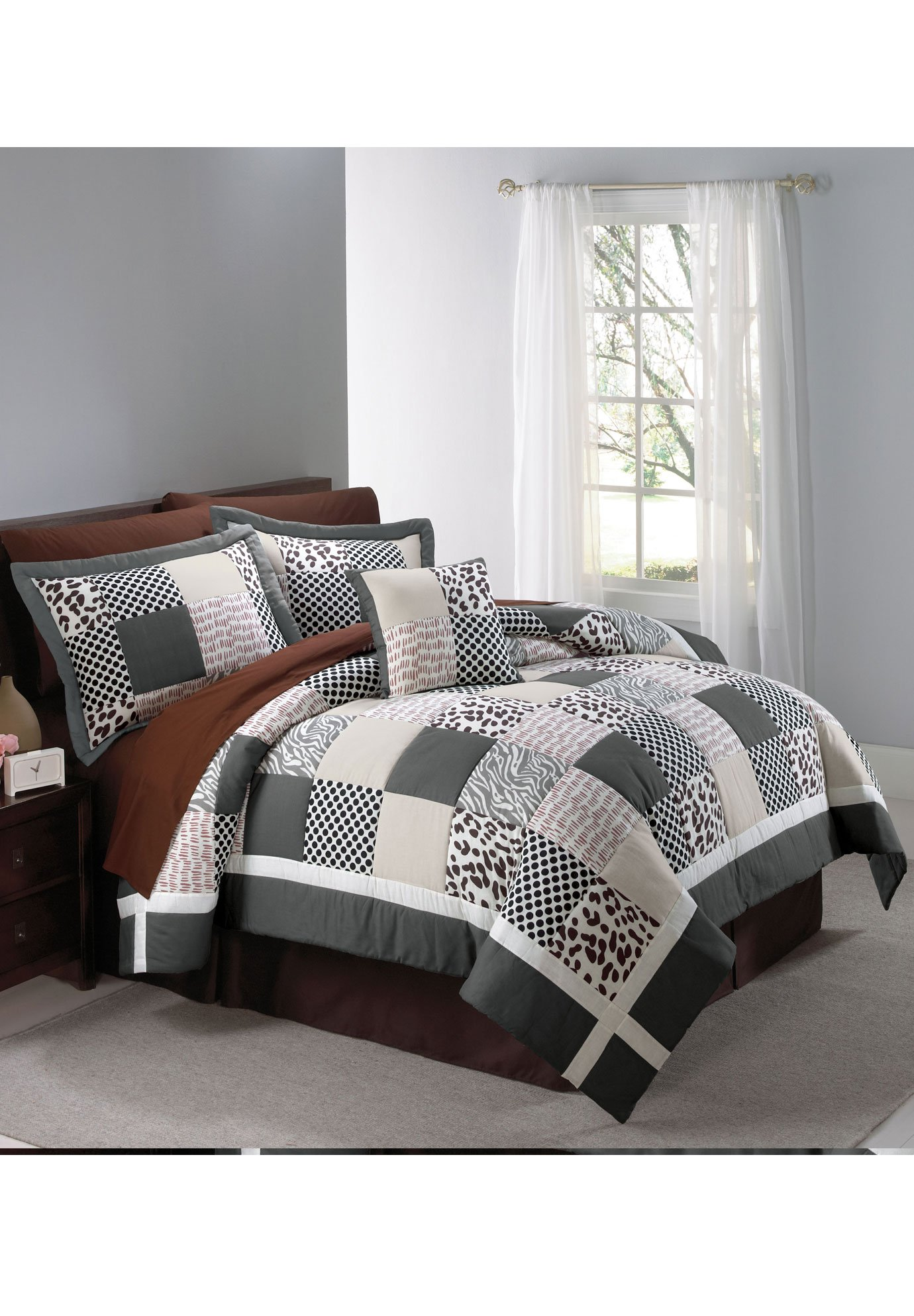 Animal Print Quilt Set (Ivory Brown,Twin)