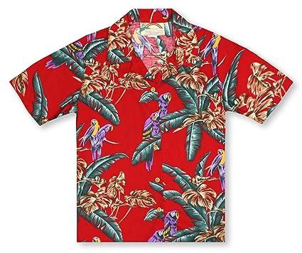 accf335f Amazon.com: Paradise Found Ladies Jungle Bird Red Hawaiian Shirt ...