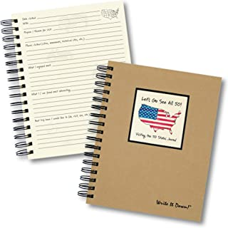 """product image for Journals Unlimited """"Write it Down!"""" Series Guided Journal, Let's Go See All 50! Visiting The 50 States Journal, with a Kraft Hard Cover, Made of Recycled Materials, 7.5""""x 9"""""""