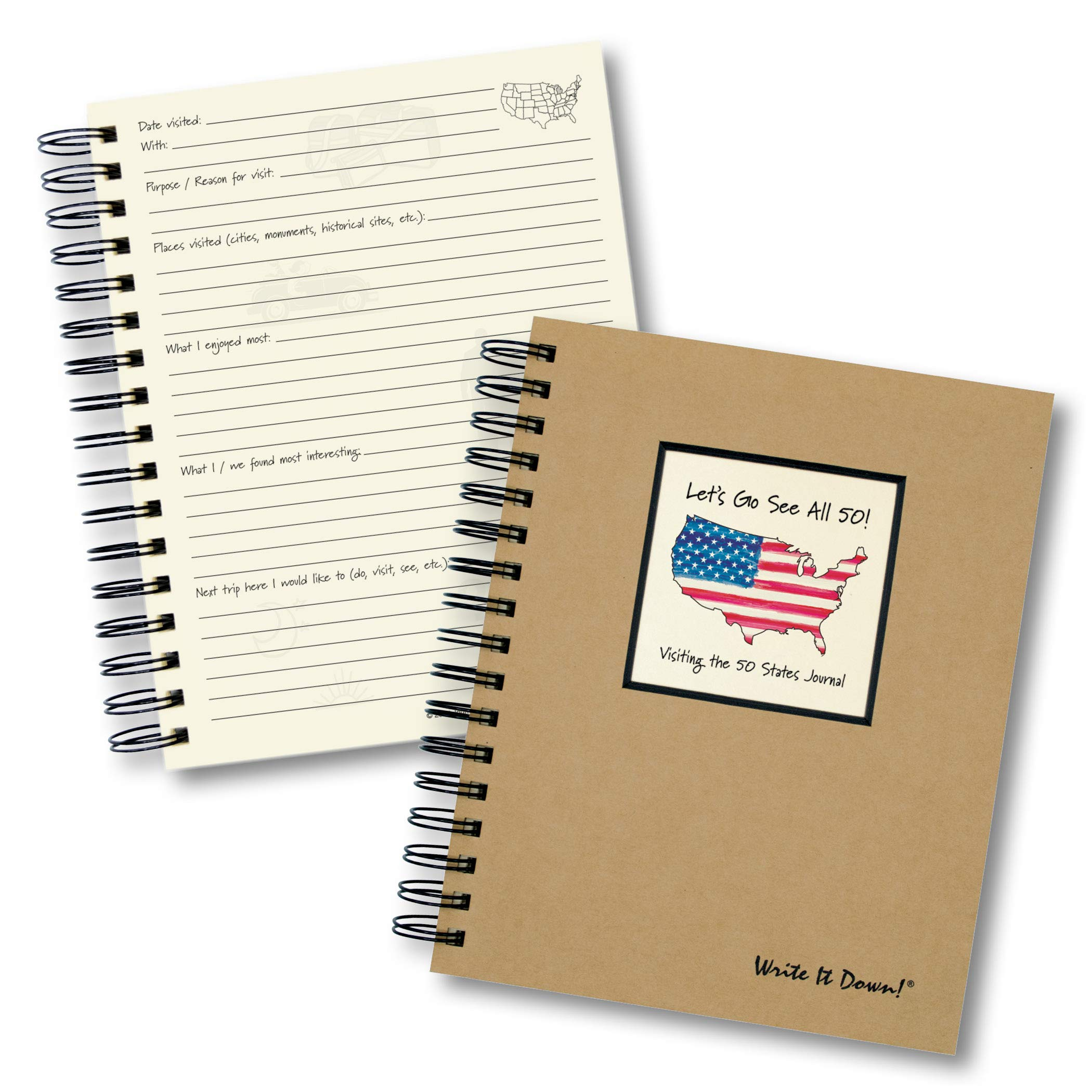 Let's Go See All 50!, Visiting the 50 States Journal - Kraft Hard Cover (prompts on every page, recycled paper, read more)