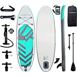 Aqua Plus 11ftx33inx6in Inflatable SUP for All Skill Levels with Stand Up Paddle Board Boat, Adjustable Paddle,Boat Double Ac