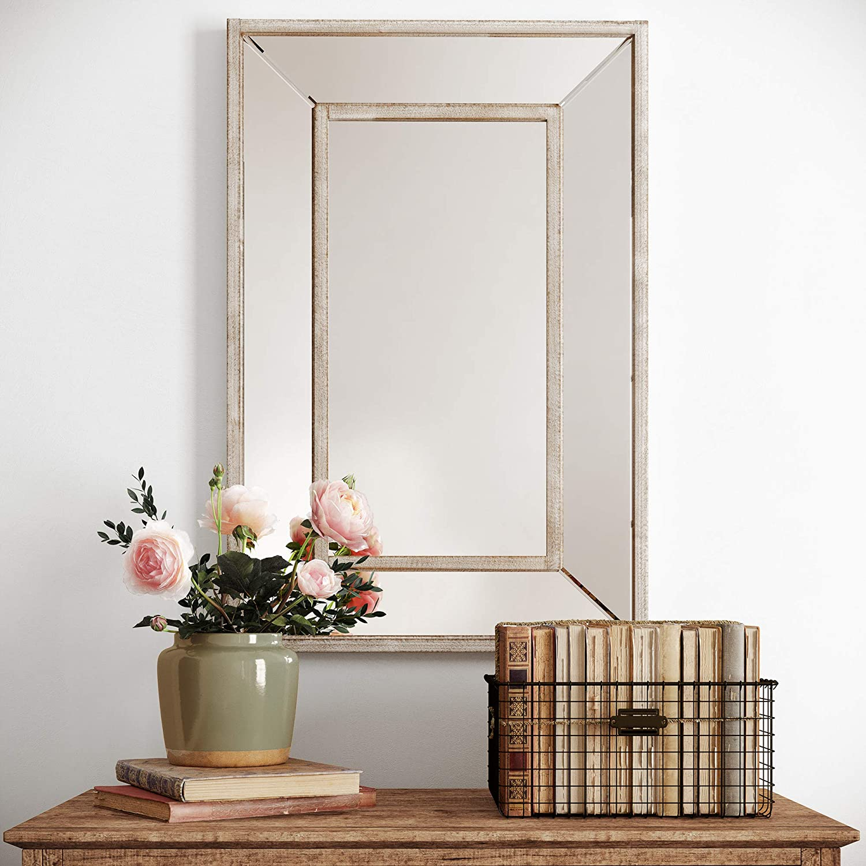 "Barnyard Designs Decorative Wall Hanging Mirror for Bathroom Vanity, Rustic Farmhouse Wood Frame Mirror Wall Decor, Brown, 24"" x 36"""