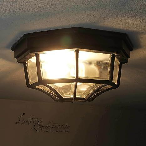 Lámpara de techo rústico en negro con 1 x 12 W E27 LED 230 V ...