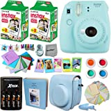 Fujifilm Instax Mini 9 Instant Camera ICE BLUE + INSTAX Film (40 Sheets) + Accessories Kit / Bundle + Custom Fitted Case + 4 AA Rechargeable Batteries & Charger + Assorted Frames + Photo Album + MORE