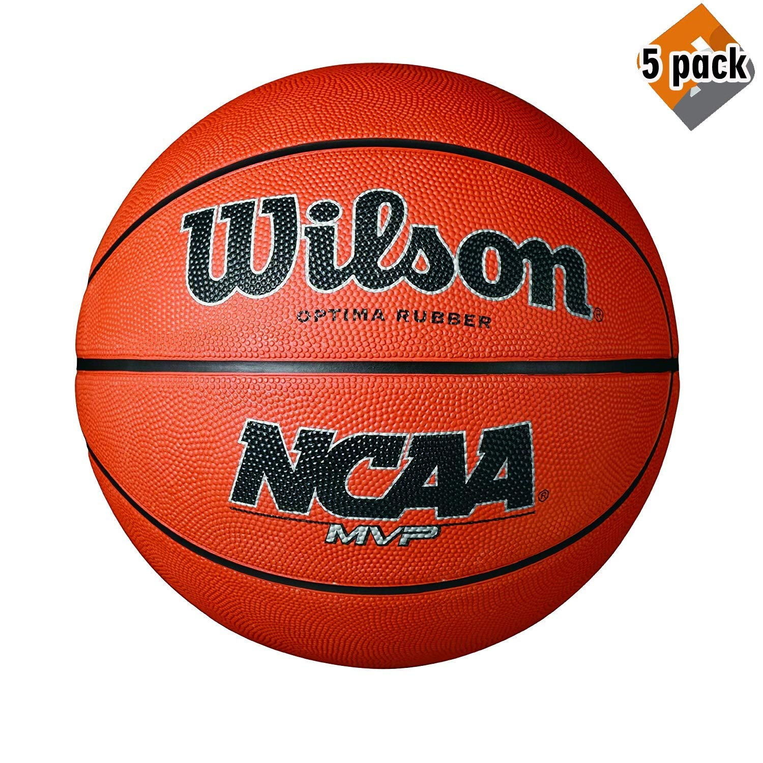 Wilson NCAA MVP Rubber Basketball, Official - 29.5'' (5 Pack)