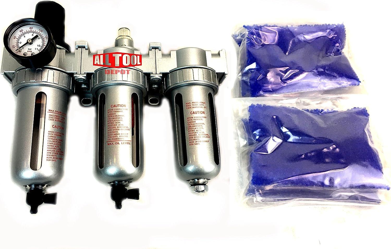 "NEW 1/2"" Compressed Air Filter Regulator / Desiccant Dryer / Coalescing Filter 3 Stages Combo"