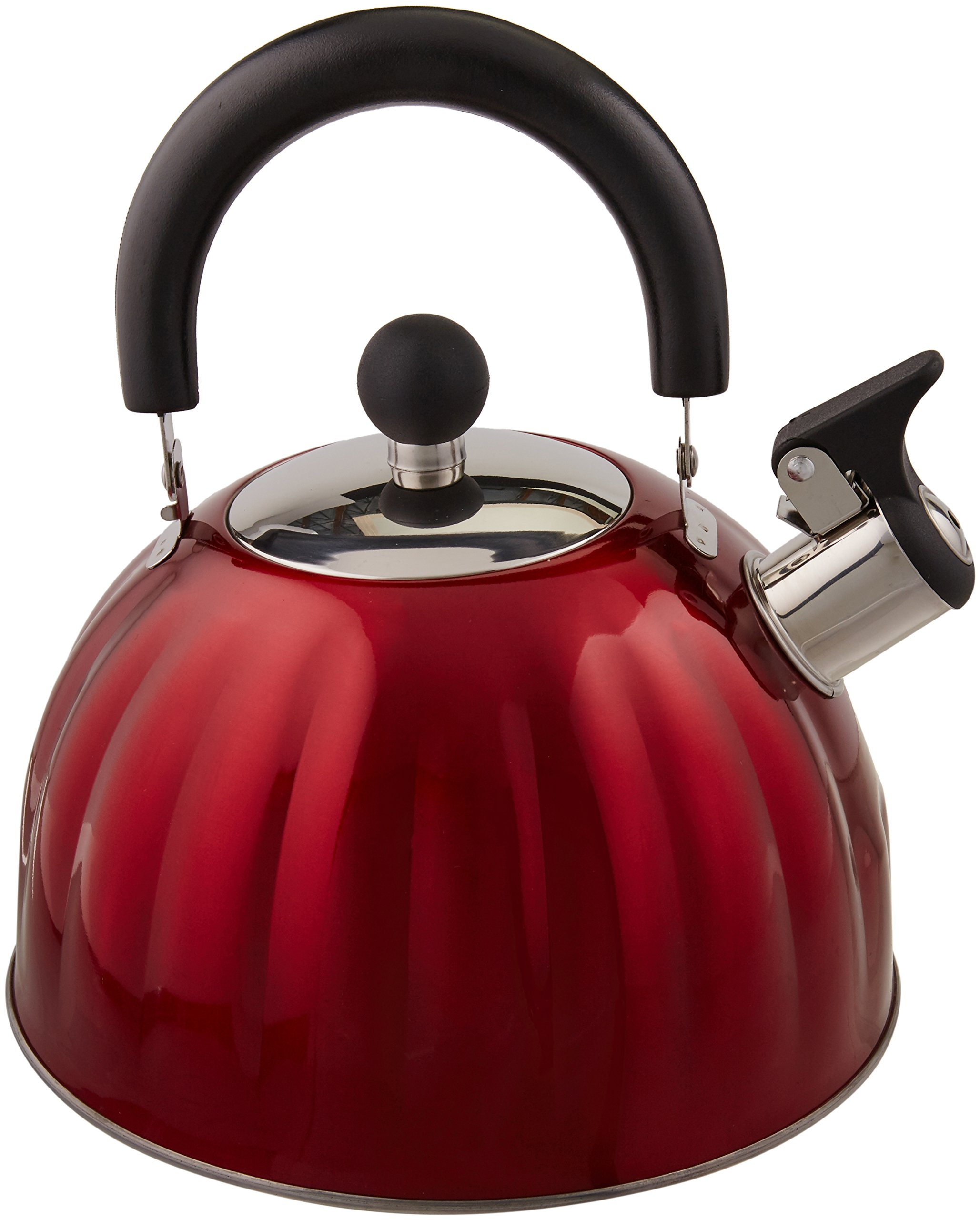 Mr. Coffee 91414.02 Twining 2.1 Quart Pumpkin Shaped Stainless Steel Whistling Tea Kettle, Metallic Red