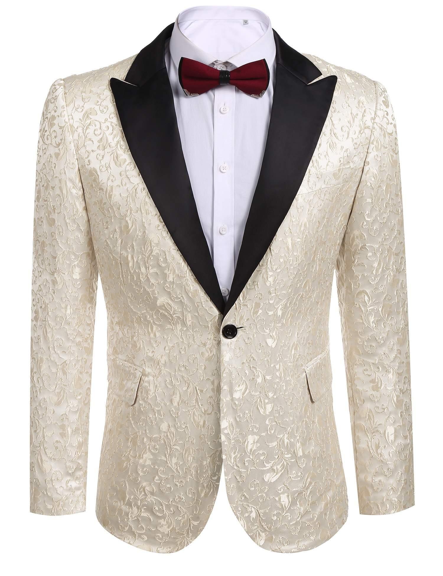 COOFANDY Men's Floral Party Dress Suit Stylish Dinner Jacket Wedding Blazer One Button Tuxdeo