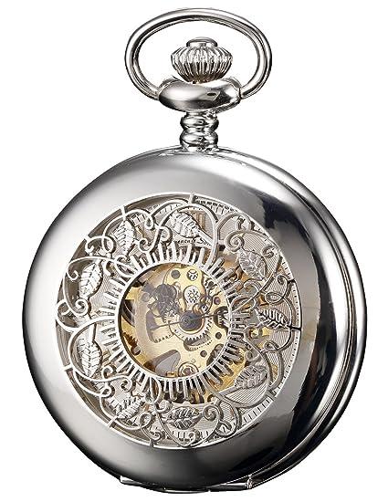 KS Reloj De Bolsillo Hombres con Cadena Steampunk Vintage Mecánico Esqueleto Color Plateado KSP048: Amazon.es: Relojes
