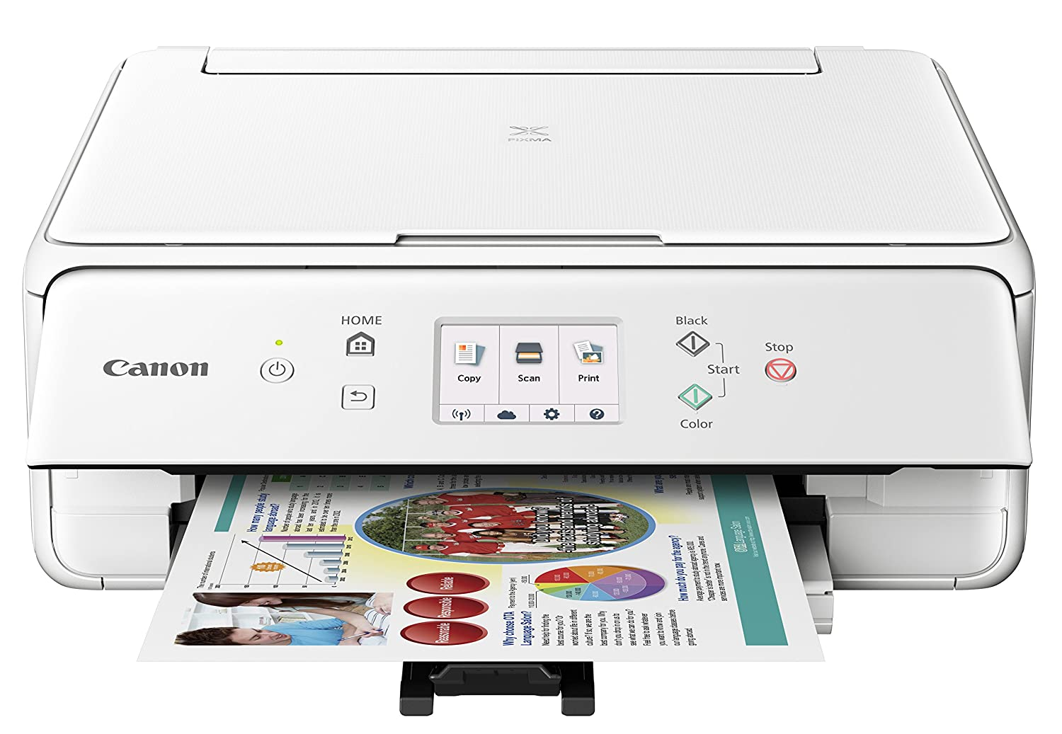 Canon Compact TS6020 Wireless Home Inkjet All-in-One Printer, Copier & Scanner, Mobile Printing, Auto Duplex and Business Card Printing, White Canon USA Inc. TS6020 WH